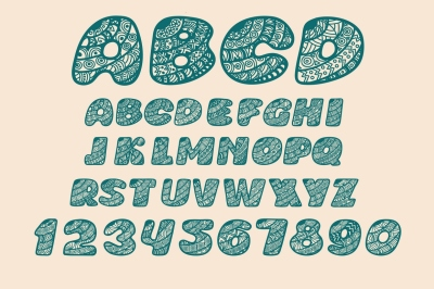 Alphabet shaped. Openwork decorative letters and numbers.
