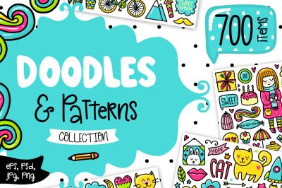 700 Doodles & Patterns - Clipart Set