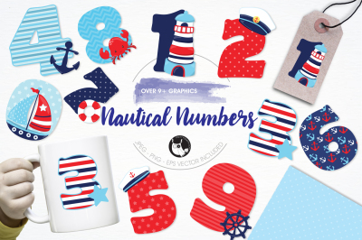 Nautical Numbers graphics and illustrations