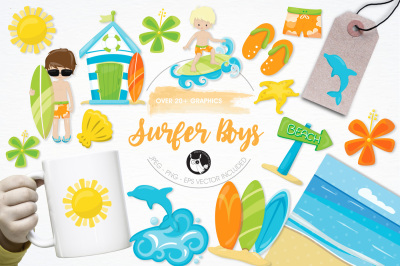 Surfer Boys graphics and illustrations