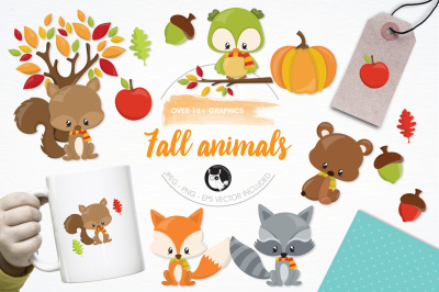 Fall Animals graphics and illustrations