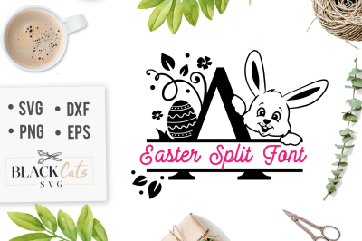 Easter Split font with bunny and Easter egg