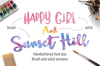Sunset Hill Brush Font Bundle