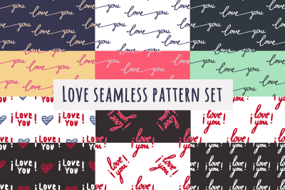Love you set seamless patterns