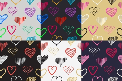 Romantic seamless patterns with doodle hearts set