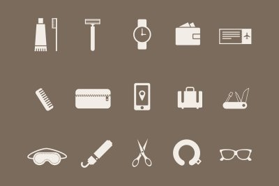 15 Travel Kit Icons