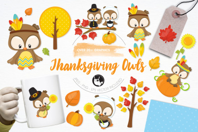 Thanksgiving Owls graphics and illustrations