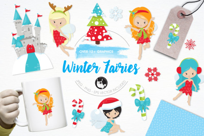Winter Fairies graphics and illustrations