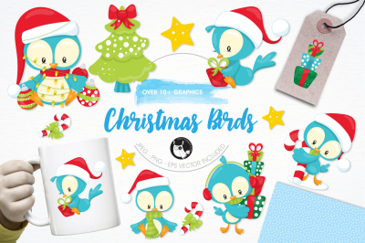 Christmas Birds graphics and illustrations