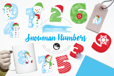 Snowman Numbers graphics and illustrations