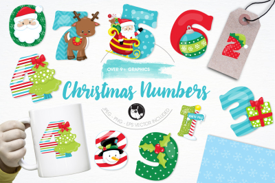 Christmas Numbers graphics and illustrations