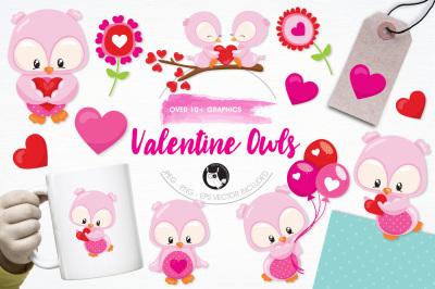 Valentine Owls graphics and illustrations