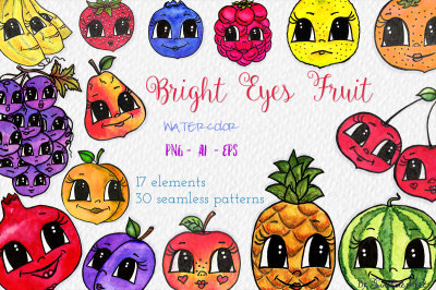 Bright Eyes Fruit – Watercolor Clip Art Kit