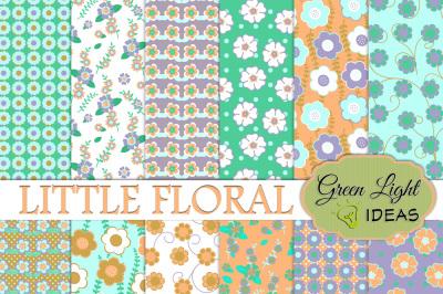 Little Floral Digital Papers, Floral Spring Backgrounds