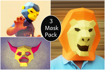 DIY 3 Party Mask Pack -3d papercfrats