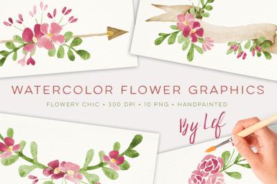 Watercolor Floral wreaths and laurels