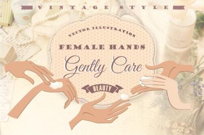 Vector illustration of female hands