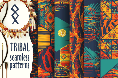 Set of tribal seamless patterns
