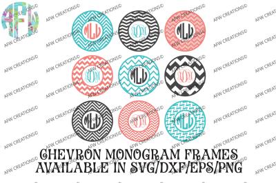 Chevron Monogram Frames - SVG, DXF, EPS Digital Cut Files