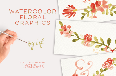 Watercolor Floral red Graphics