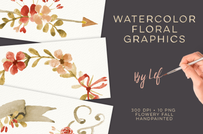 Watercolor Floral Fall themed Graphics