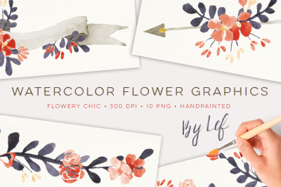 Watercolor Floral Chic themed Graphics