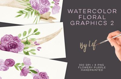 Watercolor Purple Wreaths Clipart