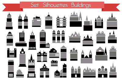 Set  buildings JPG PNG