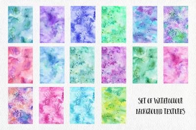 Set of handdrawn watercolor textures