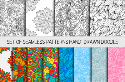 12 vector seamless doodle patterns