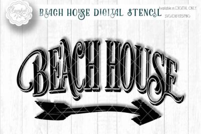 Beach House with Arrow SVG Cutting File