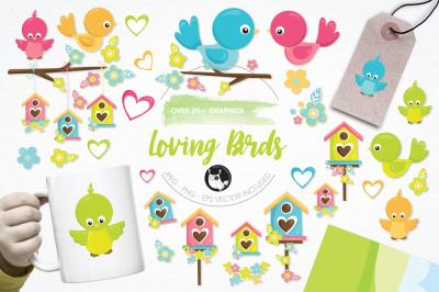 Loving Birds graphics and illustrations