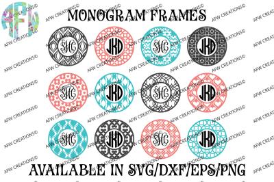 Circle Monogram Frames #1 - SVG, DXF, EPS Digital Cut Files