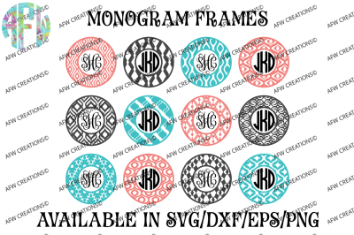 Circle Monogram Frames #3 - SVG, DXF, EPS Digital Cut Files