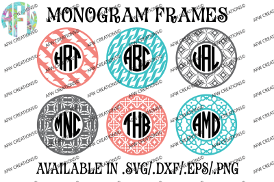 Circle Monogram Frames #4 - SVG, DXF, EPS Digital Cut Files