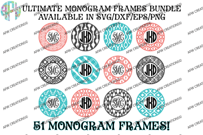 Ultimate Monogram Frames Bundle - SVG, DXF, EPS Digital Cut Files