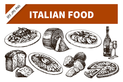 Hand Drawn Sketch Italian Food Vector Set