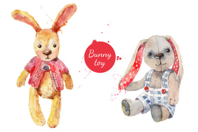 Watercolor Funny Bunny Vector Set