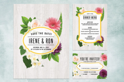 Spring Floral Wedding Invite Bundle