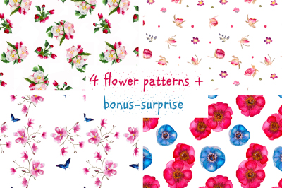 4 hand-drawn watercolor flower patterns