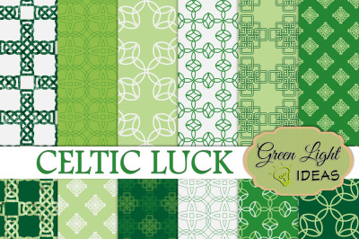 St Patrick's Day Digital Papers, Celtic Backgrounds, Green Scrapbook Papers