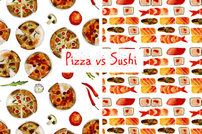2 food patterns: pizza and sushi
