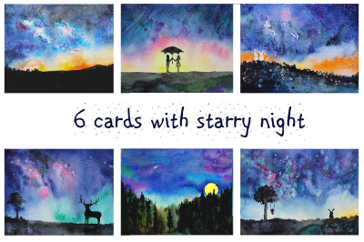 6 hand-drawn night watercolors