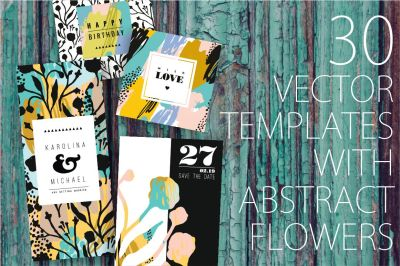 30 templates with abstract flowers
