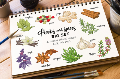 40 colored spices and herbs