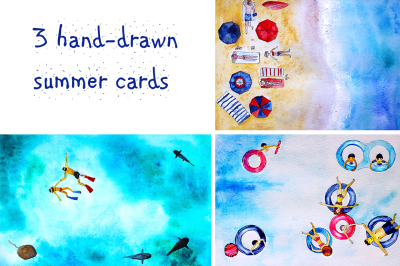 3 cards: summer holidays