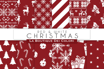 Red and White Christmas Digital Paper