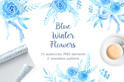 Watercolor Blue Winter Blooms
