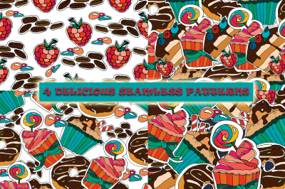 4 delicious seamless patterns. Yum-yum!