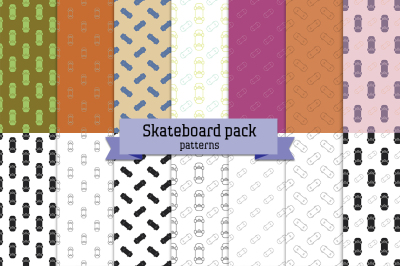 Skateboard pack - 14 seamless patterns